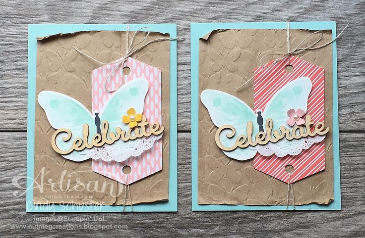 Use an embossed kraft gift bag for a layer on a card ~ Cindy Schuster