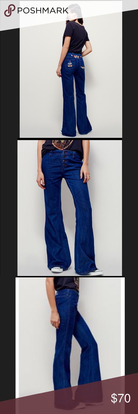 **FREE PEOPLE** HEARTBREAKER FLARE **FREE PEOPLE** size 24•Vintage-inspired mid-rise denim flares, featuring embroidery along the back pockets, and contrast seaming..relaxed fit through the thigh, and button fly..                                                      *ALSO I.S.O. (desperate search) these exact pants in a size 30, or 31...**                              also..free people sale tag is missing, and inside name has a line through it to apparently discourage re-sale from third…