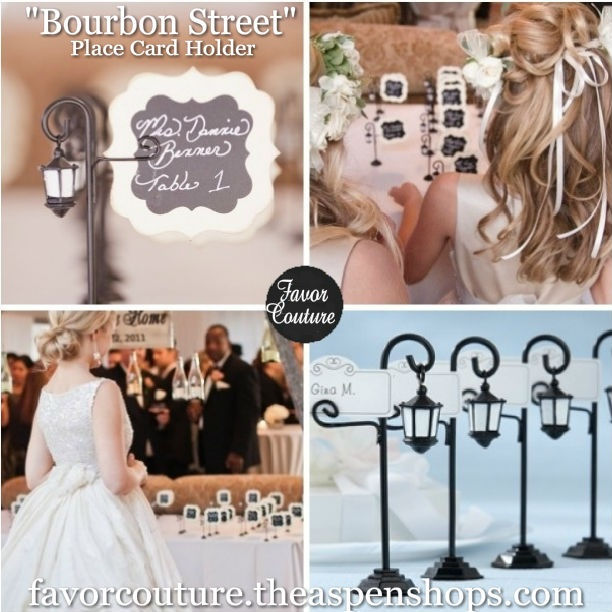 """""""Bourbon Street"""" Streetlight Place Card Holder with Coordinating Place Cards (Set of 4) Sale Price: $1.25 (15% off) http://favorcouture.theaspenshops.com/product/bourbon-street-streetlight-place-card-holder.html"""