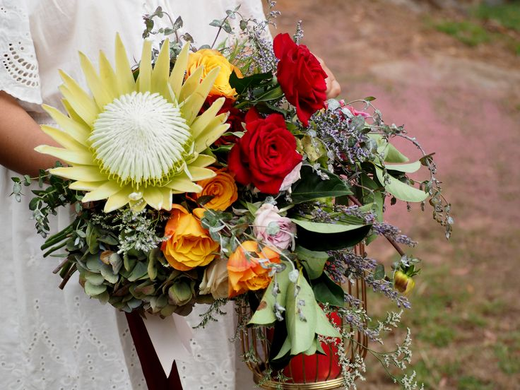 pink smoke and colourful blooms photoshoot in the blue mountains | Sydney wedding florist | king protea | red and orange flowers | hunter gatherer florist