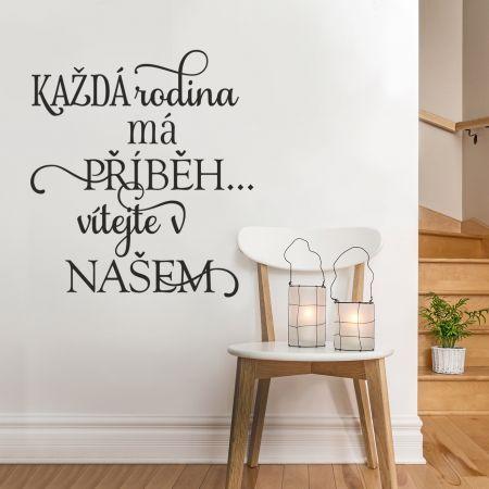 """HOUSEDECOR.CZ - SAMOLEPKY NA ZEĎ - Texty a citáty - Samolepka na zeď """"Rodinný příběh"""""""
