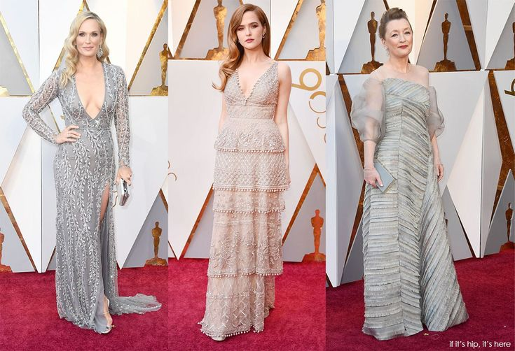 Molly Simms, Zoey Deutsch and Leslie Manning all looked elegant in cool and warm grey gowns. The 2018 Oscars Red Carpet Couture by Color on If It's Hip, It's Here