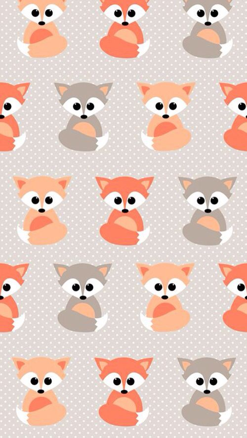 Baby Foxes pattern background. Tap to see more cute and beautiful iPhone wallpapers! - @mobile9