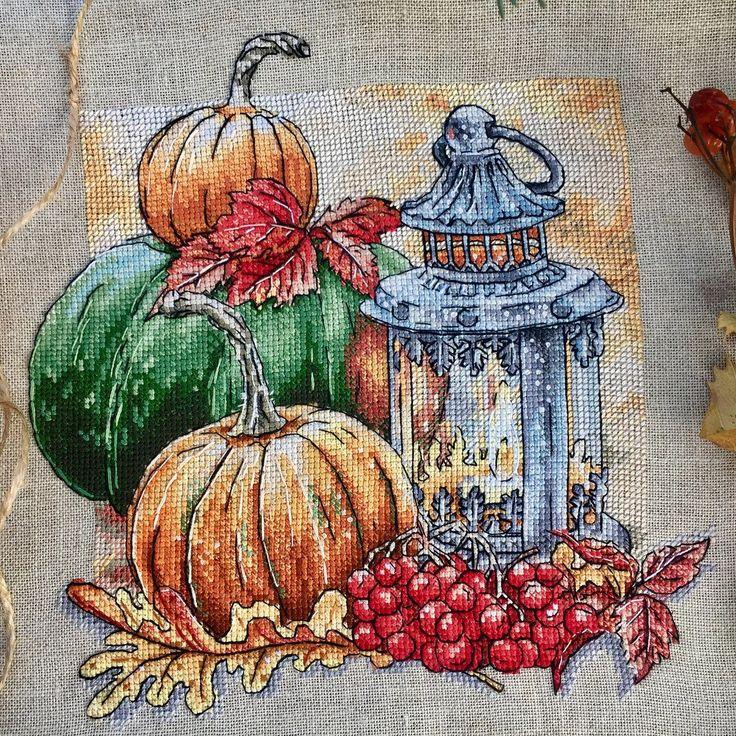 Осенние хлопоты схема вышивки