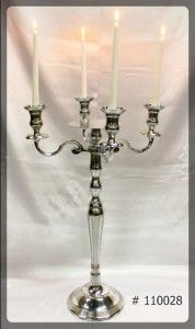 Silver Candelabra 30 inch tall with 7 inch plate and 4 Led Taper Candles  # 110028