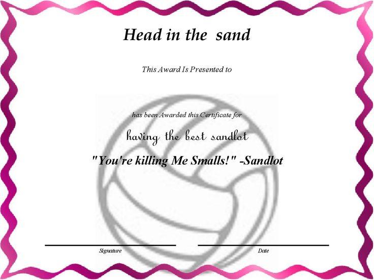 Head in the sand - having the best sandlot art Pinterest - printable award templates