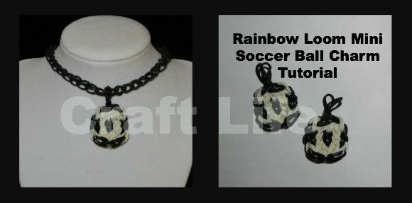 Rainbow Loom Mini Soccer Ball Charms ~ One Loom Tutorial