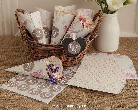 paper cones wedding. paper cones, confetti wedding petal holders, candy cones - wed004 o
