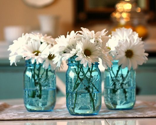 new blue ball heritage pint jars dining room, love colors, entry, drapes, jars, daisies, etc.!