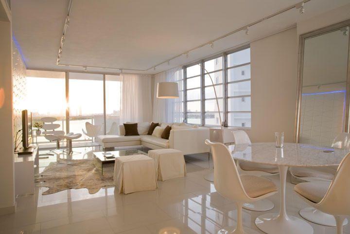 white tile floor living room11th Floor Apartment Transformation