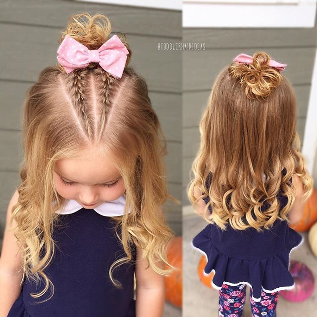 Viv requested curly hair today, I was excited because it doesn't happen often! I did a triangle part with 2 french braids into a mini messy bun! Perfect style for older or younger girls! Toddler hair ideas