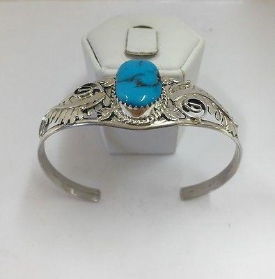 Nativo americano de prata esterlina manguito Turquesa handmde Navajo in Joias, bijuterias e relógios, Étnicas, regionais e tribais, Indígenas norte-americanos | eBay
