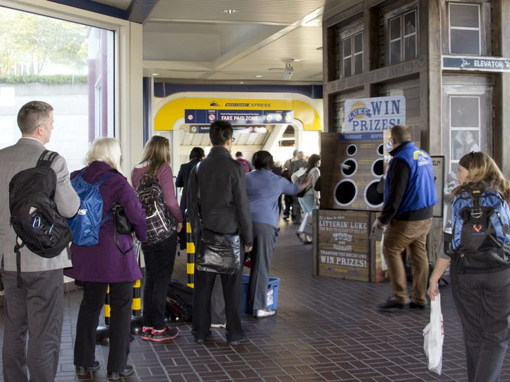 Litterin' Luke game for TransLink's West Coast Express commuter train. Riders are encouraged to help clean up the train, while having fun doing it!