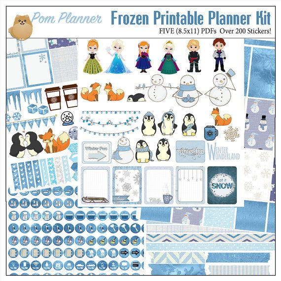 Frozen Printable Planner Kit 5 PDFs, Over 300 Stickers EC or Happy Planner, Blue, Snow, Penguins, Foxes, Snowmen, Princess, Winter, Icons  THIS