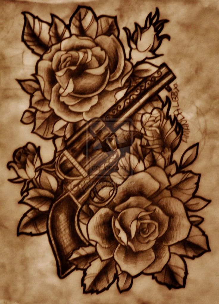 Gun With Roses by BigAma on deviantART