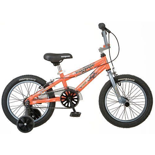 "Mongoose 16 inch Boys Bike - Trickster by Mongoose. $116.94. Your little daredevil will love the Mongoose 16"" Boys' Trickster Bike, which features a freestyle frame with an aggressive look to match his personal style. The sturdy steel wheels with freestyle tires and front pegs allow potential for tricks, while the printed saddle and cutout chain ring add to the authentic freestyle design. The coaster brake allows for simple stopping as your little trickster learns to ride ..."