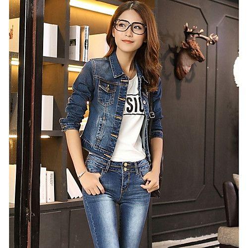 Feminino Jaqueta jeans Para Noite Simples Primavera,Sólido Curto Poliéster Colarinho de Camisa Manga Longa de 2017 por $11.99