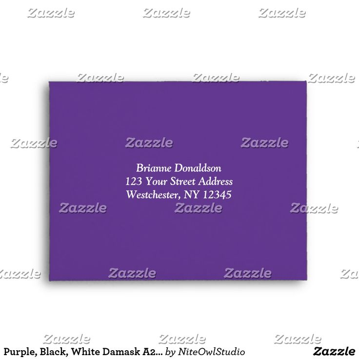 Purple, Black, White Damask A2 Envelope for RSVPs This stylish and modern purple, black and white damask A2 envelope matches the wedding invitation shown below. If you require any other matching items in this design, please email your request to niteowlstudio@gmail.com.