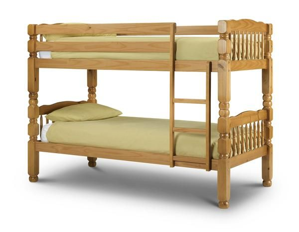 A solid pine bunk bed in an antique lacquered finish. The Chunky bunk is very…