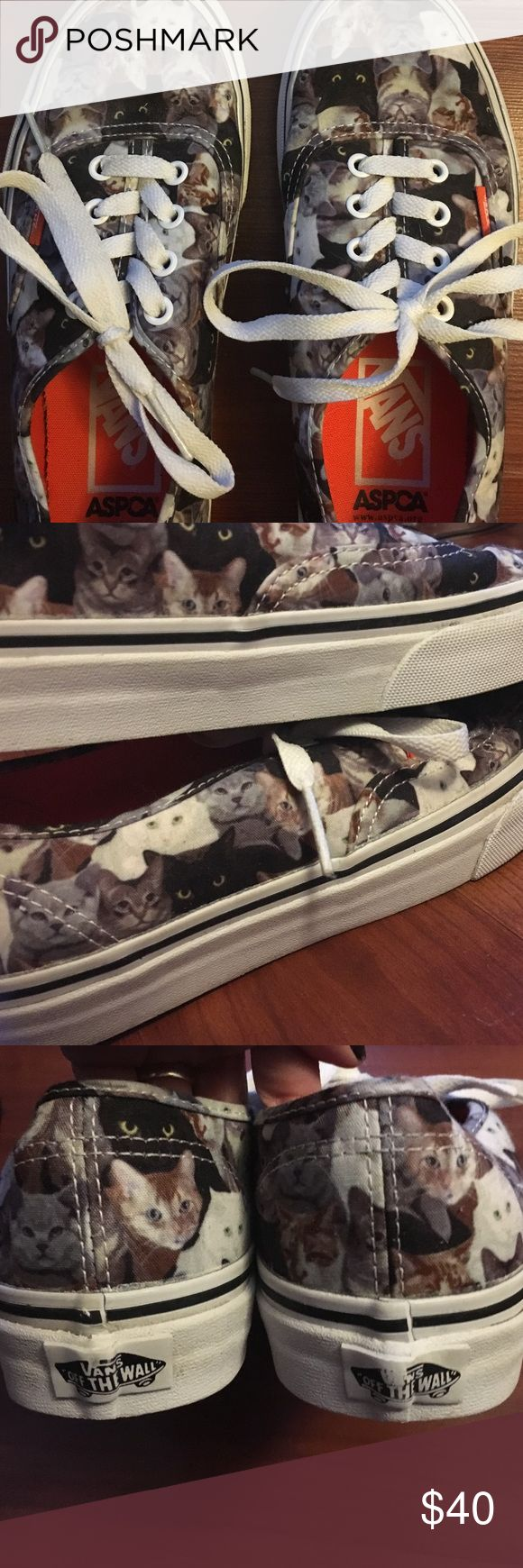 Cat Vans 😸 Adorable vans x aspca womens size 7! Only ever worn once for a few hours and the only sign of wear is a little of the logo rubbing off the back, the sides are still as white as can be and the bottoms are clean :) Rare to find, sold out everywhere ive looked~ even on the vans website! Vans Shoes Sneakers