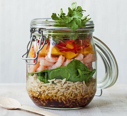 Prawn, rice & mango jar salad. Be the envy of your colleagues with this healthy layered salad with soy and sesame dressing