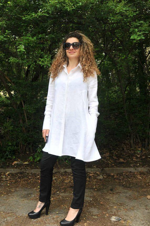 Asymmetrical Loose White Shirt / Linen Long Sleeves Tunic Dress Top / Loose Maxi Blouse / EXPRESS SHIPPING / MD10037