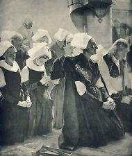 Antique Old Vintage Art Print MASS AT BRITTANY Catholic Women Praying Rosary