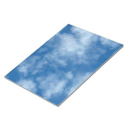 Partly Cloudy Blue Sky Photo Notepad - home gifts ideas decor special unique custom individual customized individualized
