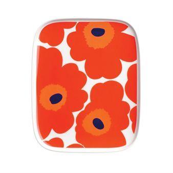Unikko plate - red - Marimekko
