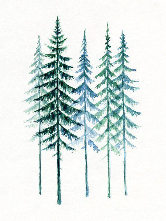 Evergreen Trees Printable Wall Art Scandinavian Pine Trees Watercolor Painting Minimalist Nature Digi In 2020 Evergreen Tree Tattoo Watercolor Trees Pine Tree Tattoo