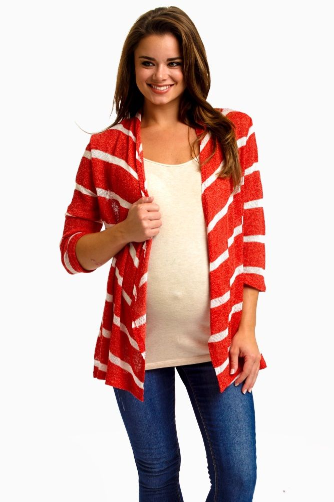A striped knit open cardigan. 3/4 sleeves