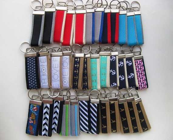 Need bulk gift ideas, corporate gifts, employee gifts?  Our listing of 25 handmade Key Fobs is perfect!  70+ prints and colors available. #stockingstuffer #christmasgift #employeegift #giftunder10