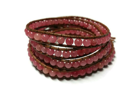 Pink Beaded Bracelet Brown Leather Wrap Gift for by BriAndAshStore