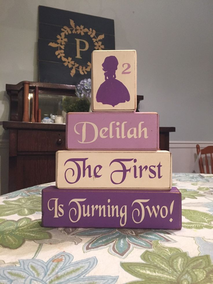 Sofia the first birthday block set disney junior princess sofia stacking block set painted wood blocks custom personalized centerpiece by AppleJackDesign on Etsy https://www.etsy.com/listing/225153632/sofia-the-first-birthday-block-set