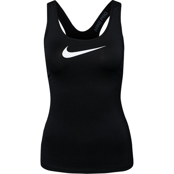 Nike Pro Tank (£25) ❤ liked on Polyvore featuring activewear, activewear tops, tops, sport, shirts, tank tops, black, sports fashion, vests and womens-fashion