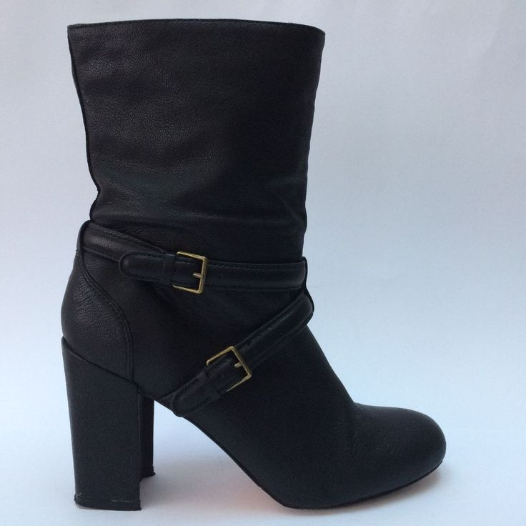 Country Road All Leather Boots Size 38 AU 7.5 Black Gold Buckles Block Heel  | eBay