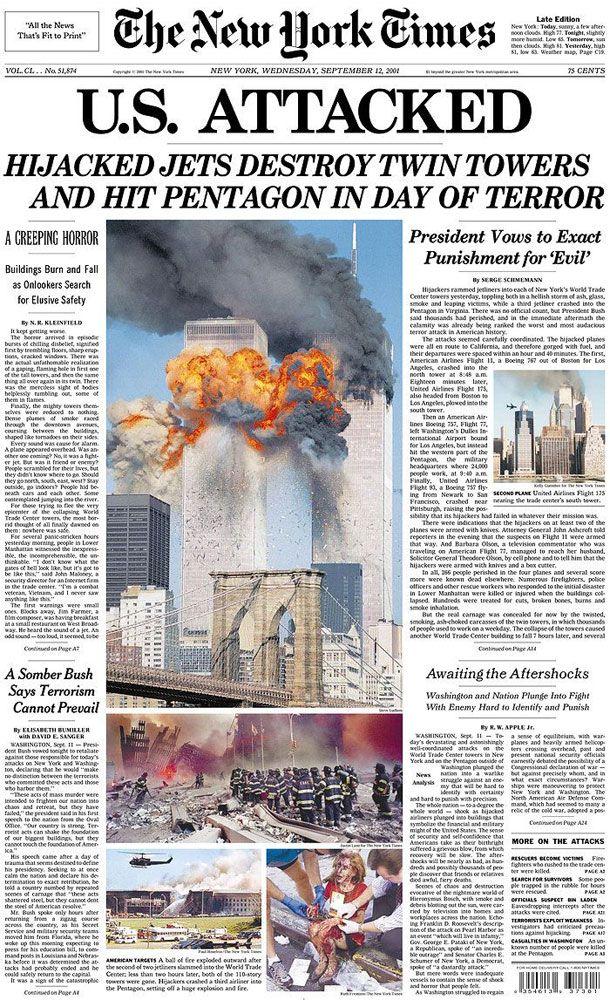 The New York Times: September 12, 2001                                                                                                                                                                                 More