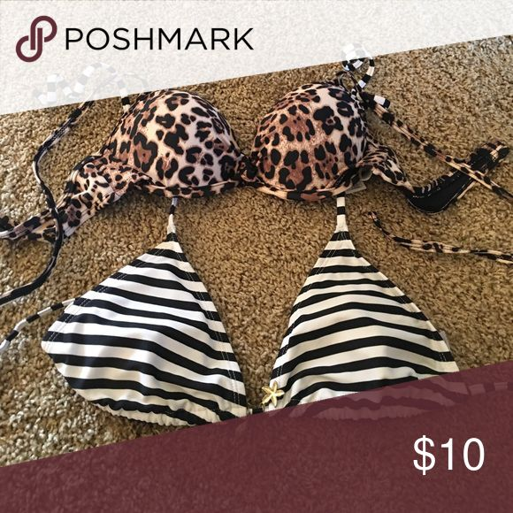 Medium bikini top set One M nautical stripe triangle bikini top and one M leopard print bikini top. old navy and forever 21 Swim Bikinis
