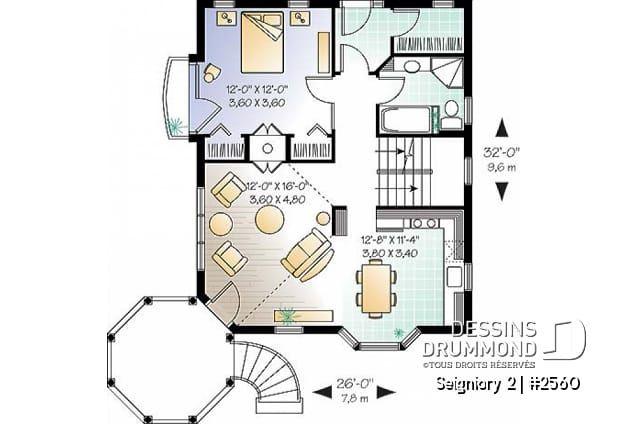 Decouvrez Le Plan 2560 Seigniory 2 Qui Vous Plaira Pour Ses 1 2 3 Chambres Et Son Style Victorien Floor Plans Home