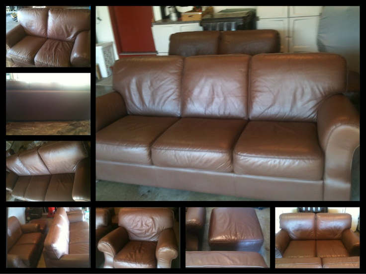 St Louis Leather Repair   Leather Furniture Set  Color Change   After