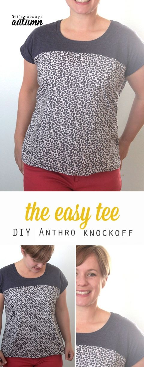 Use the included free pattern to make this easy to sew Anthropologie knockoff women's shirt.