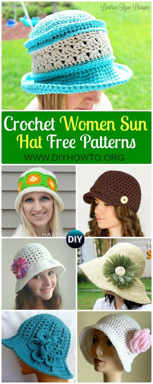Collection of Crochet Women Sun Hat Free Patterns: #Crochet adult brimmed Sun hat, ladies Summer hat, Flower Hat, Floppy hat, Cloche Hat via @diyhowto