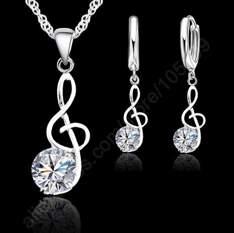 Be special: Musical Notes Jewelry Set Real 925 Sterling Silver...