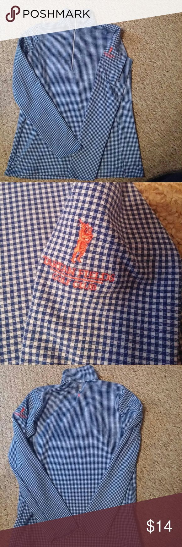 Ralph Lauren zip top checkered shirt This is an adorable blue and white Ralph Lauren checkered shirt Polo pullover with zipper. Size small Tops Tees - Long Sleeve