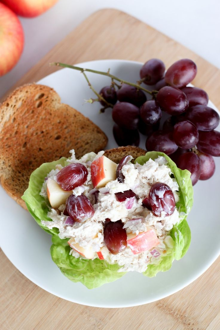 If you have leftover rotisserie chicken or cooked chicken breast, make this high-protein chicken salad as an easy lunch option under 375 calories.