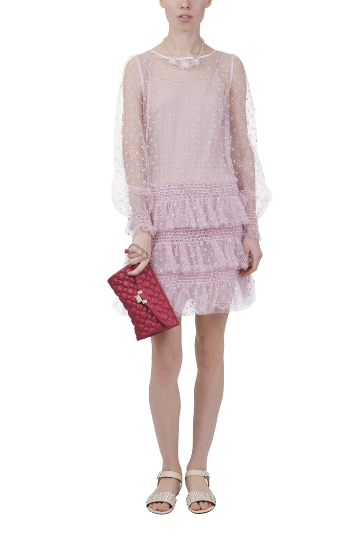 Red Valentino dress and bag,Sonia by Sonia Rykiel shoes