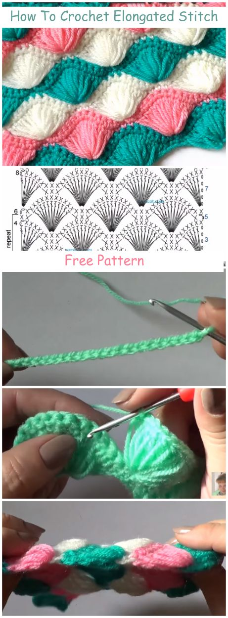 How To #Crochet Elongated Stitch + Free Pattern & Video Tutorial For Beginners -…