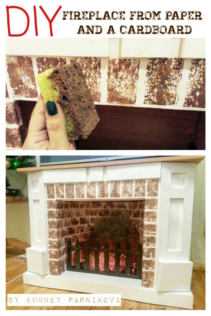 DIY False fireplace from a cardboard and paper. Imitation