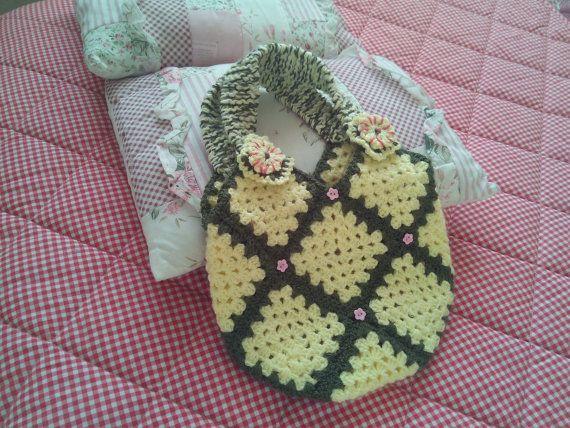 Crochet Handbag Purse Yellow And Brown by Ladydarinefinecrafts