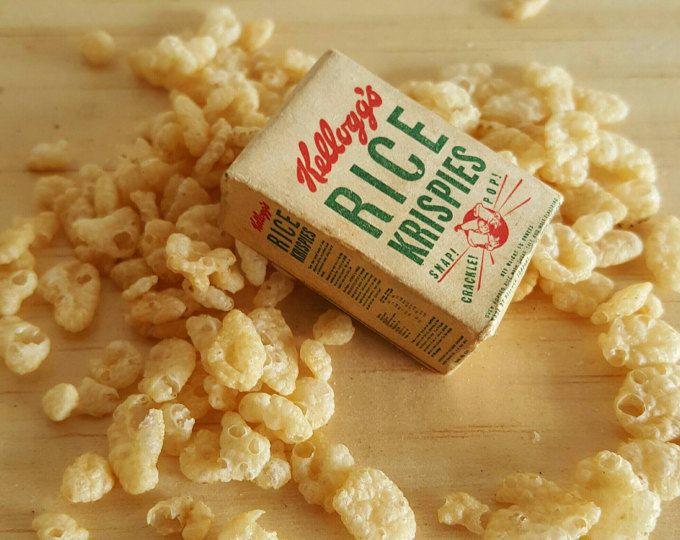 Kellog's Rice Krispies Miniature Play Food Playtown 1940s Wood & Paper Snap Crackle Pop Retro Graphics Tiny Food
